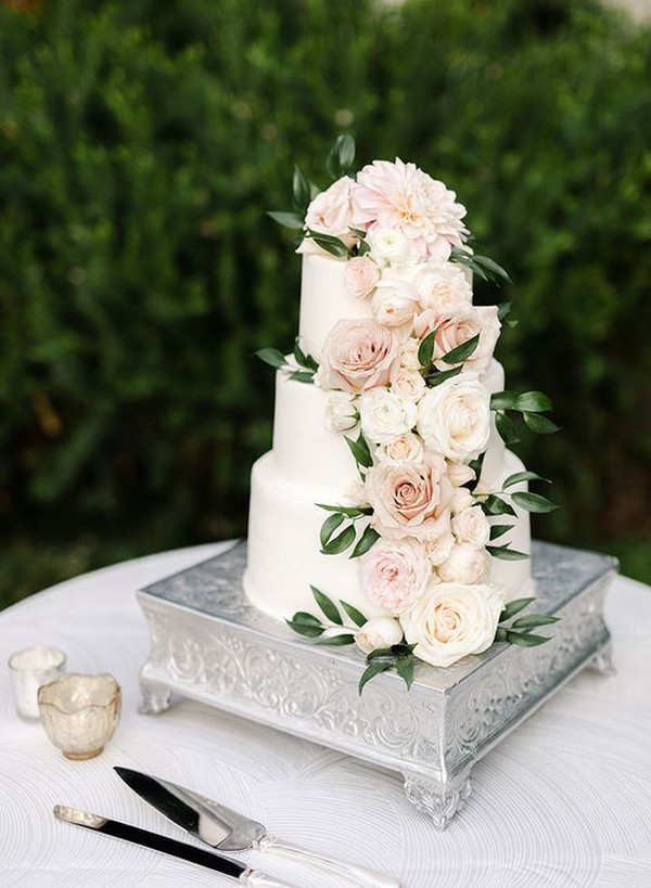 blush pink and green spring wedding cake