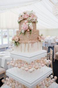 blush pink and metallic gold wedding cake