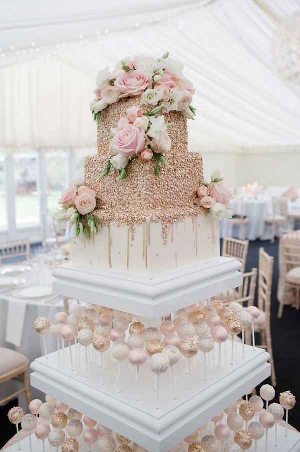 blush pink and metallic gold wedding cake