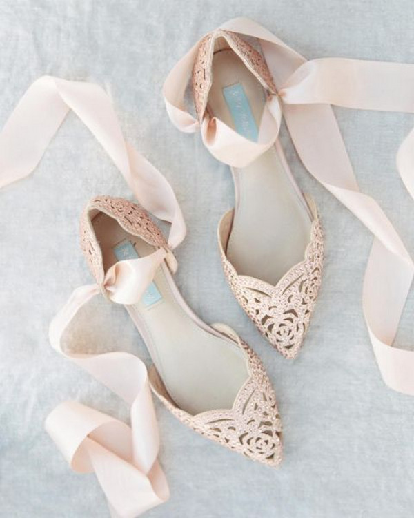 blush pink lace up wedding flats