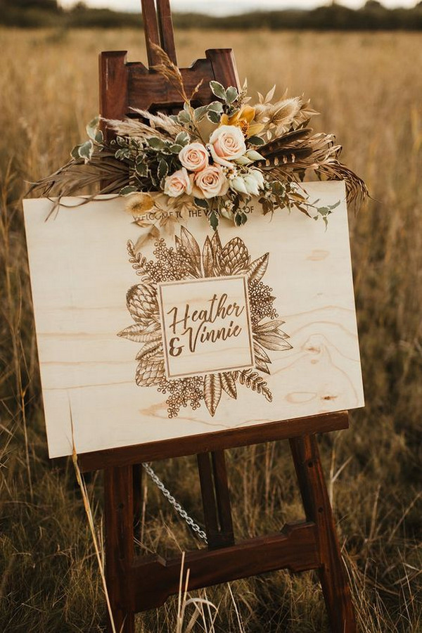 bohemian wooden wedding sign