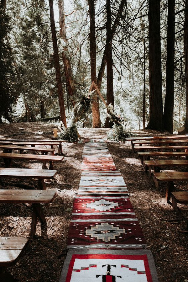 boho chic forest wedding ceremony ideas