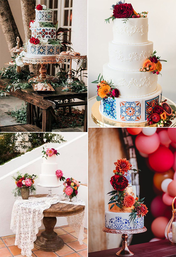 bright and colorful Mexican themed wedding cakes