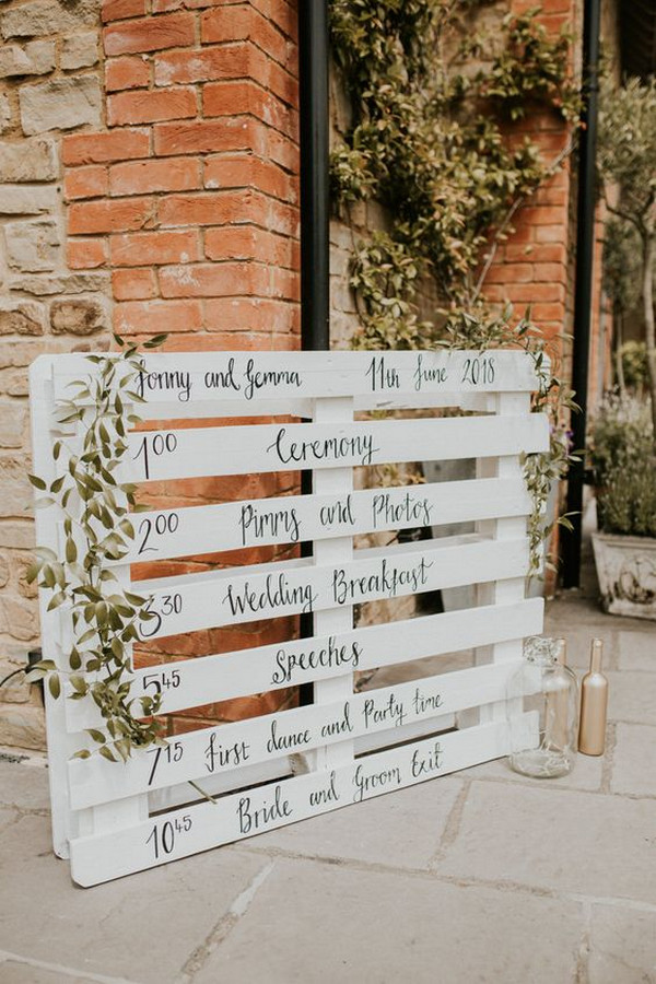 chic DIY wedding sign ideas with greenery