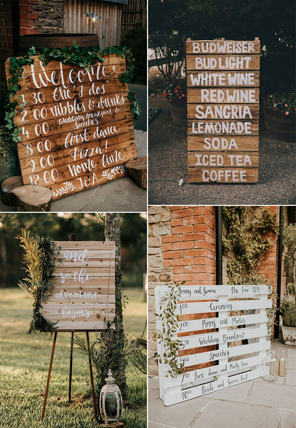 chic rustic wedding sign ideas with greenery