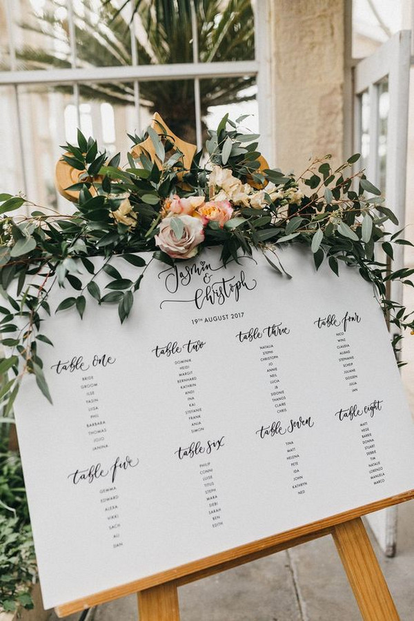 chic wedding table plan sign ideas with greenery decorated
