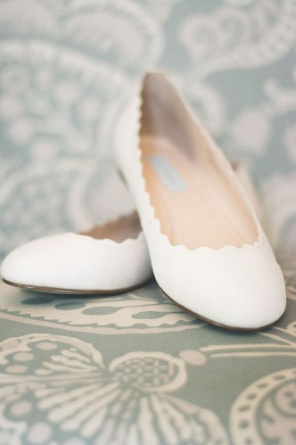 comfortable white wedding flats