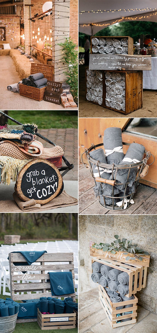 country rustic wedding blanket display ideas