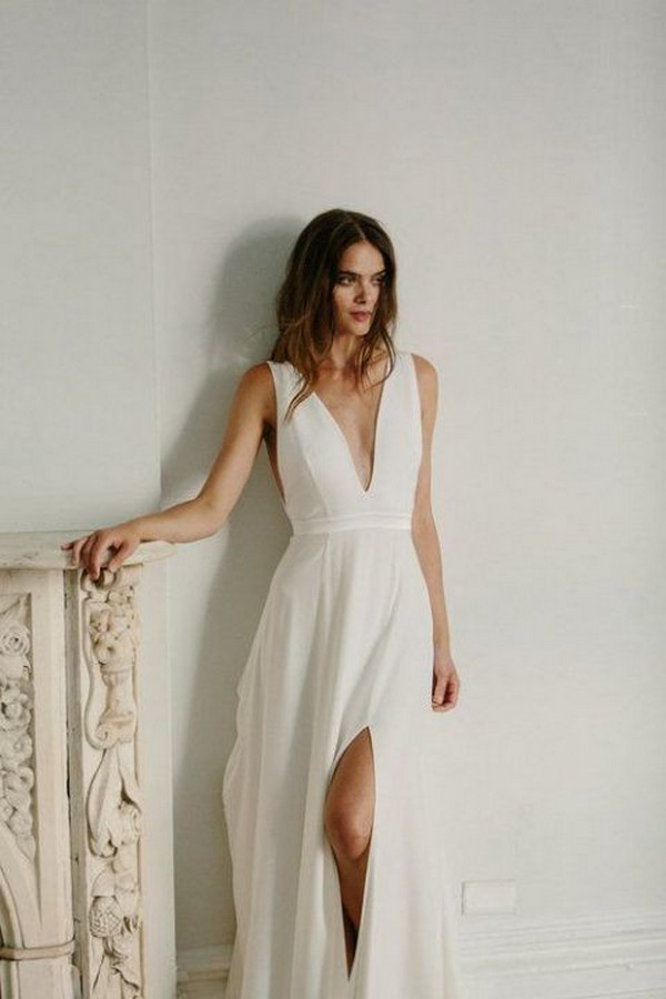 deep v neck minimalist wedding dress