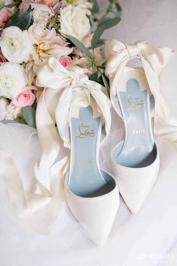 dusty blue and white pretty wedding shoes