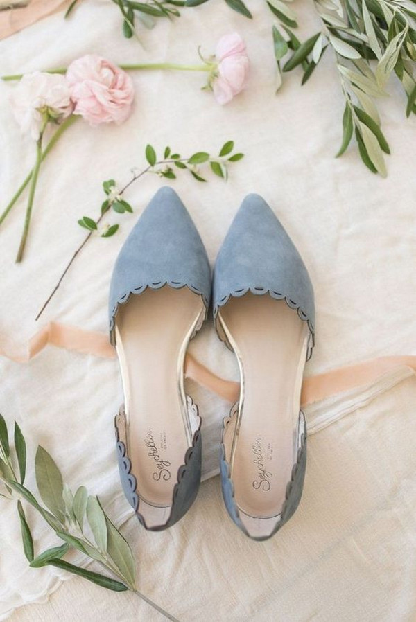 dusty blue flat wedding shoes