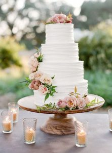 dusty pink floral spring wedding cake