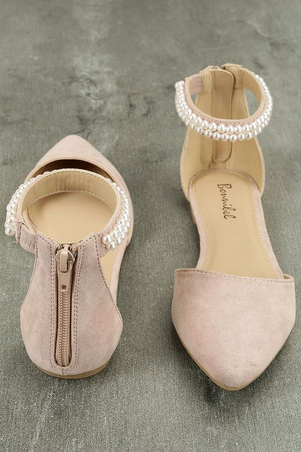dusty rose bridal shoes with pearls