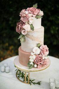 dusty rose spring summer wedding cake ideas