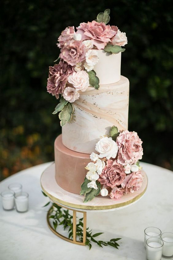 dusty rose spring summer wedding cake ideas