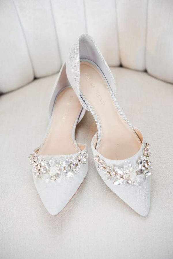 elegant embellished flat wedding shoes