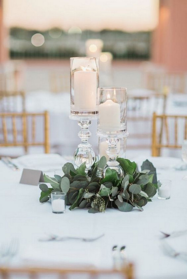 elegant greenery and candles wedding centerpiece ideas