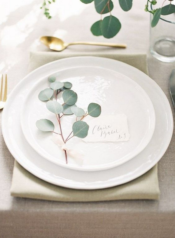 elegant minimalist wedding table setting ideas