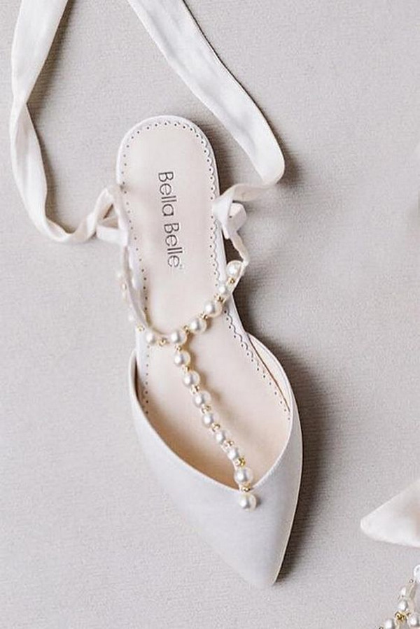 elegant nude flat wedding shoes with pearls
