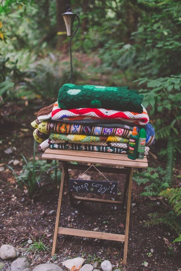enchanted forest wedding blankets display ideas for guests