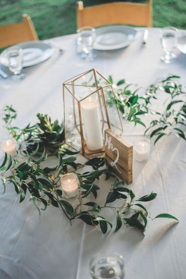 geometric and greenery wedding centerpiece ideas with candles