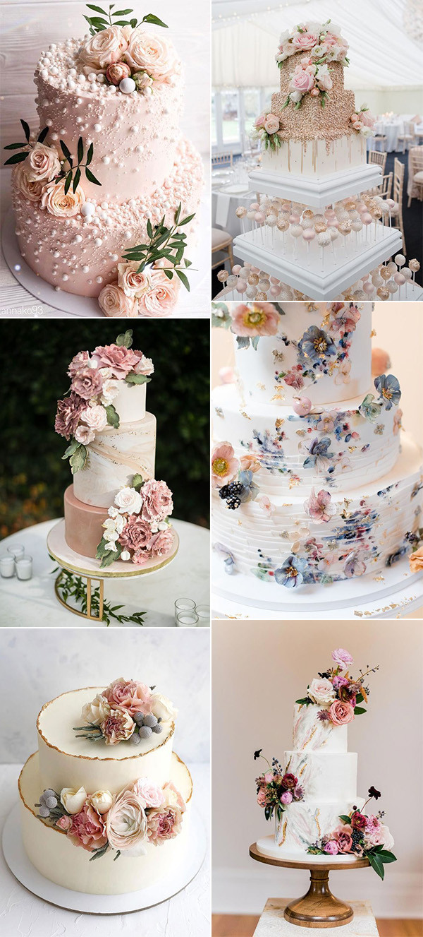 gorgeous pink wedding cakes for spring summer