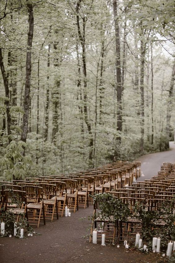 greenery forest chic wedding ceremony decoration ideas