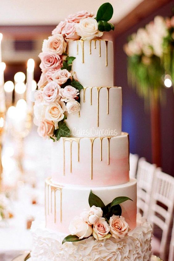 metallic gold and pink floral wedding cake