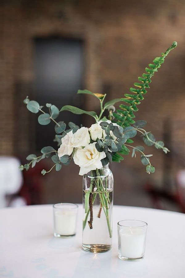 minimalist greenery wedding centerpieces