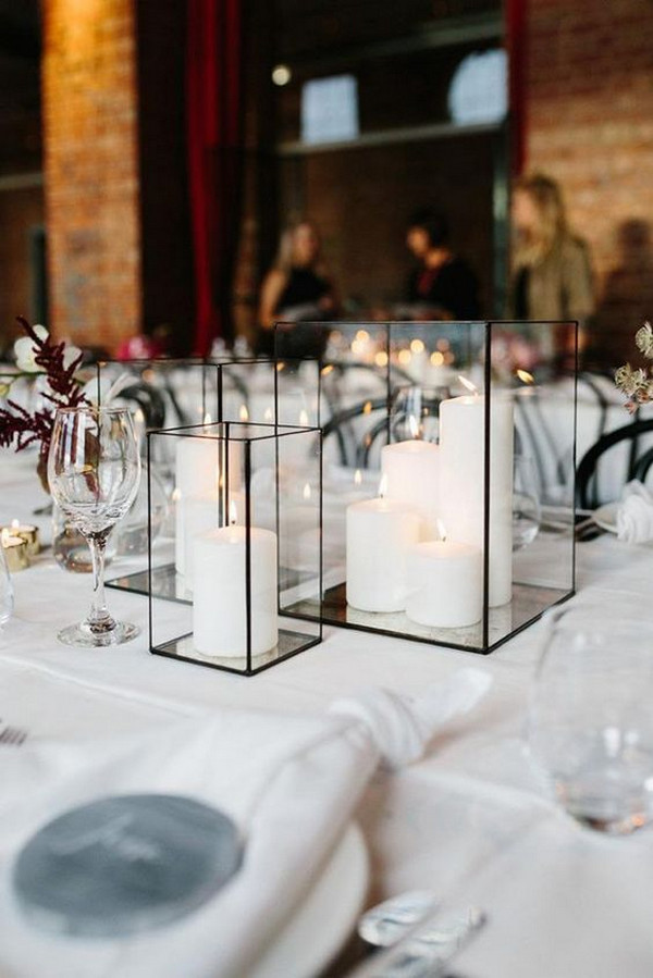 minimalist lanterns wedding centerpiece ideas