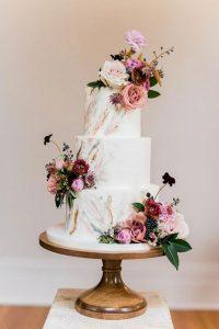 modern floral wedding cake for spring