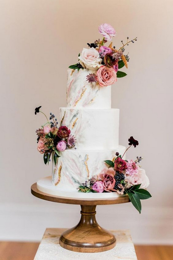 modern floral wedding cake for spring