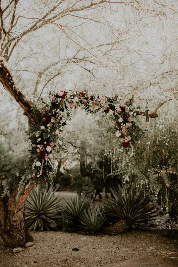 moody boho wedding arch ideas