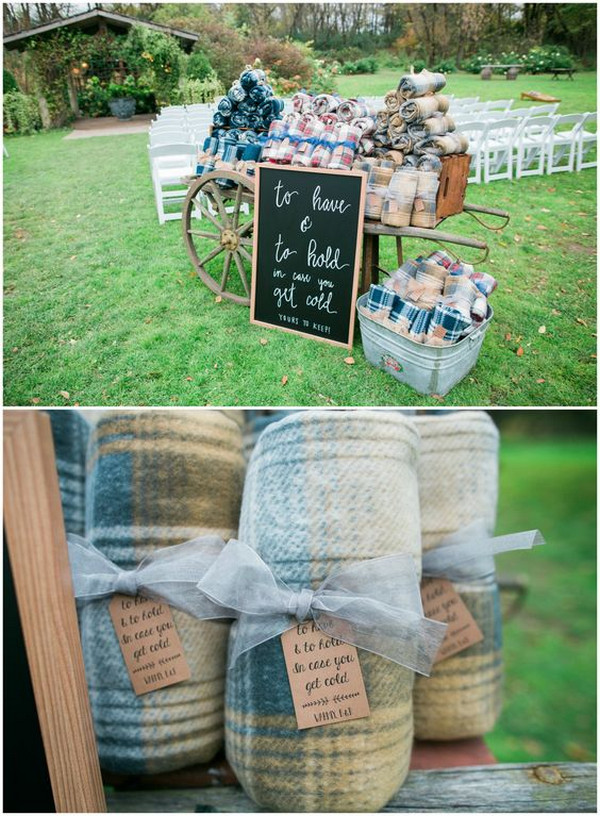 outdoor fall winter wedding blankets display ideas