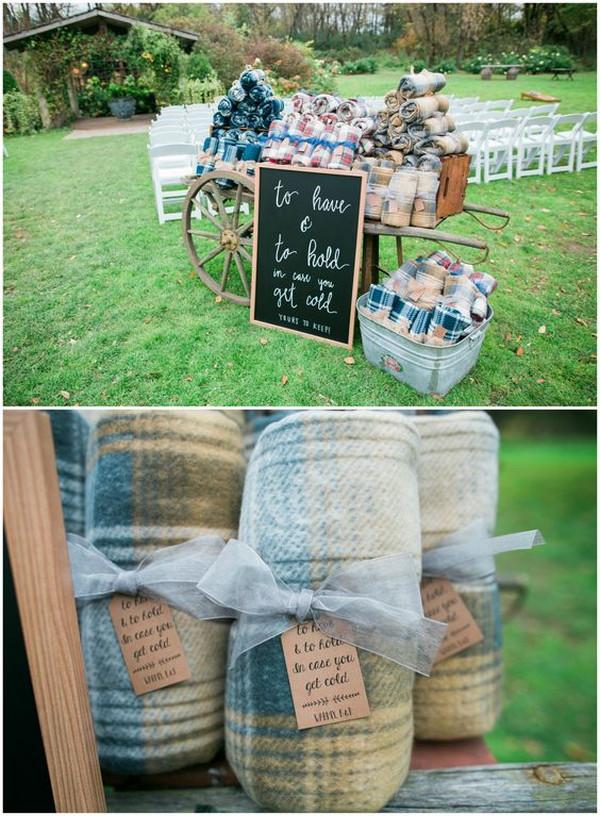 outdoor fall winter wedding blankets display ideas