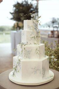 pastel green and blue spring wedding cake