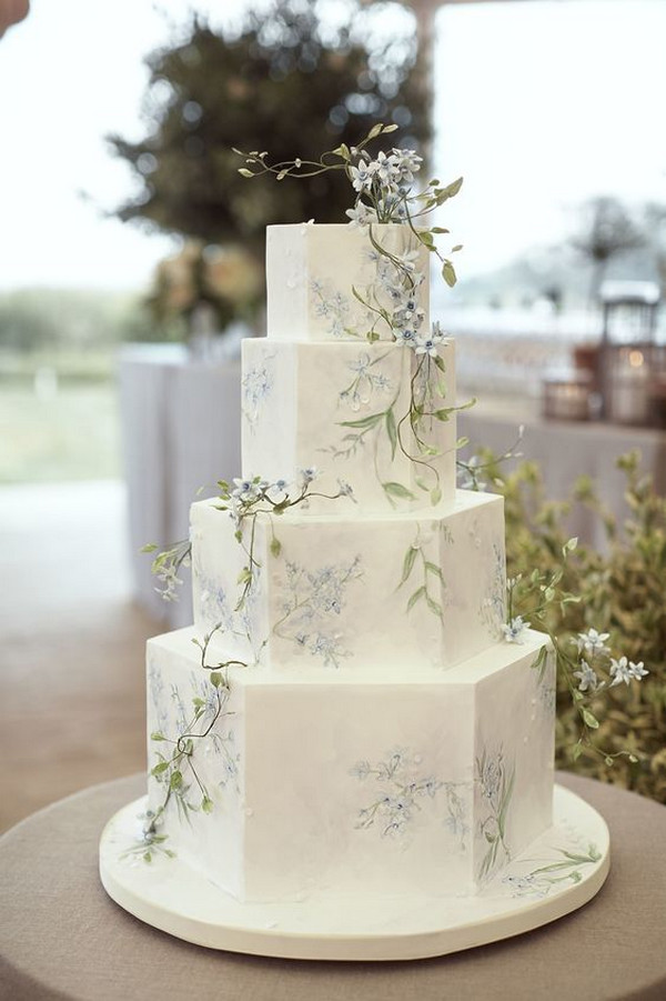 pastel green and blue spring wedding cake