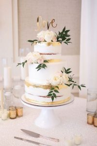 pink and gold wedding cake for spring summer