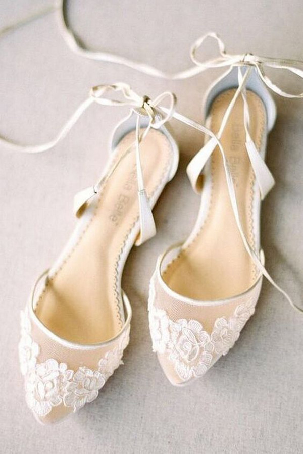pretty lace up flat wedding shoes