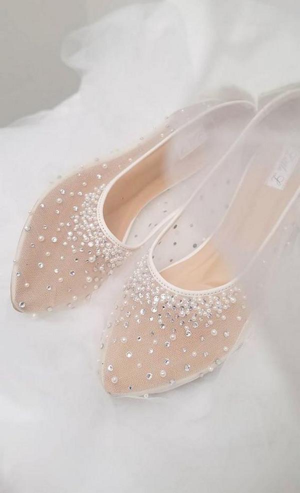 pretty pearl and rhinestone flat wedding shoes