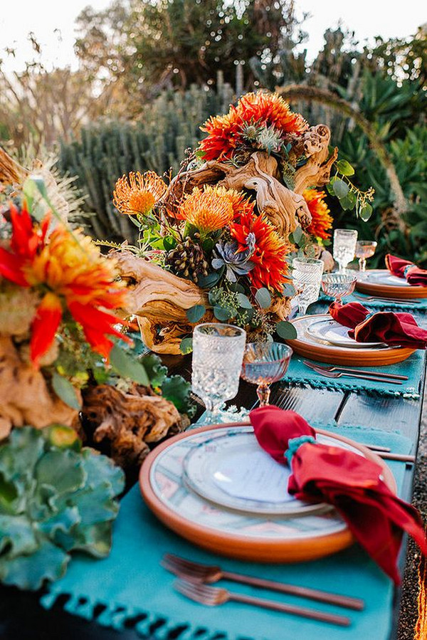 rich colors Mexican wedding table setting ideas