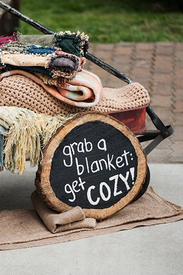 rustic winter wedding blankets display ideas