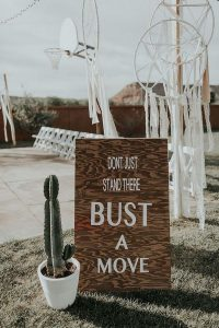 simple boho chic wooden wedding sign