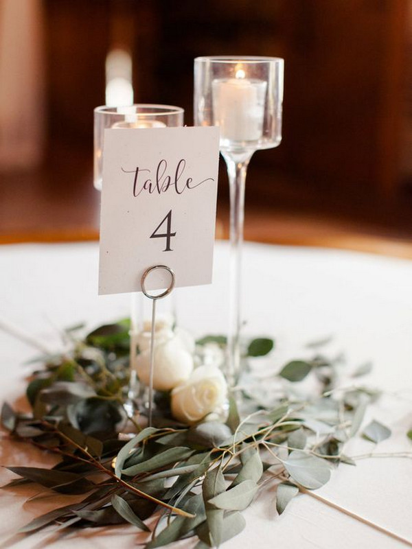 simple wedding centerpiece ideas with greenery and candles