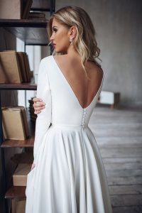 simple wedding dress with long sleeves