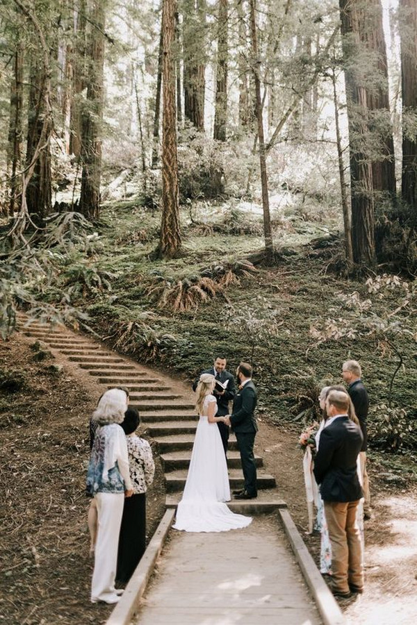 small intimate wedding ceremony in the forest