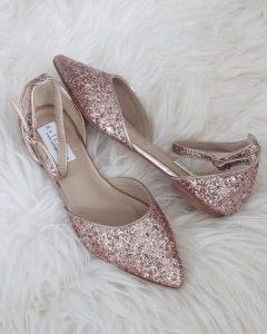 sparkle rose gold flat wedding shoes