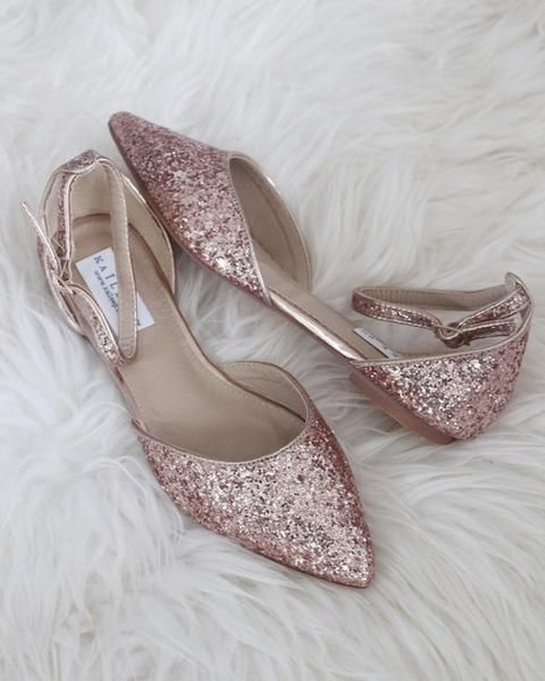 sparkle rose gold flat wedding shoes