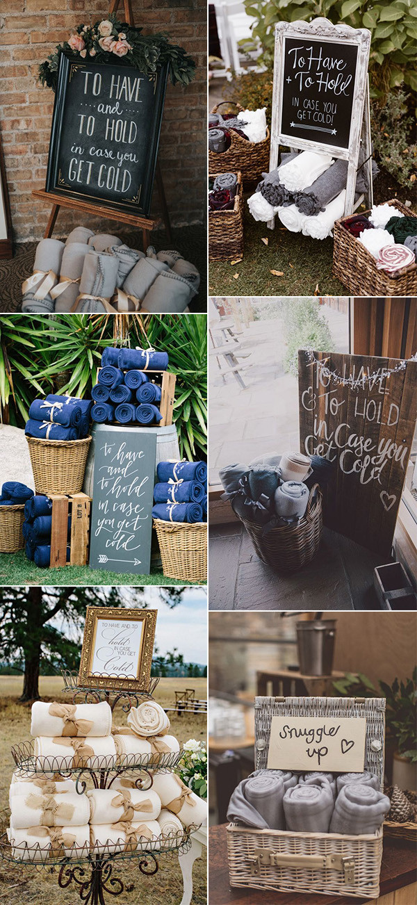 trending blankets display ideas for fall winter weddings