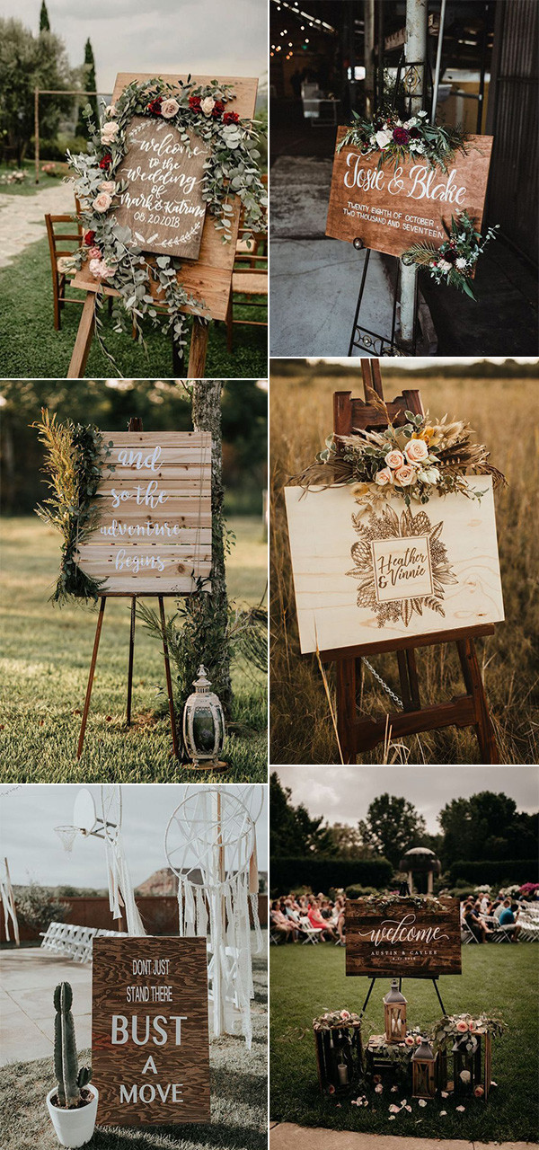 trending boho chic wedding signs